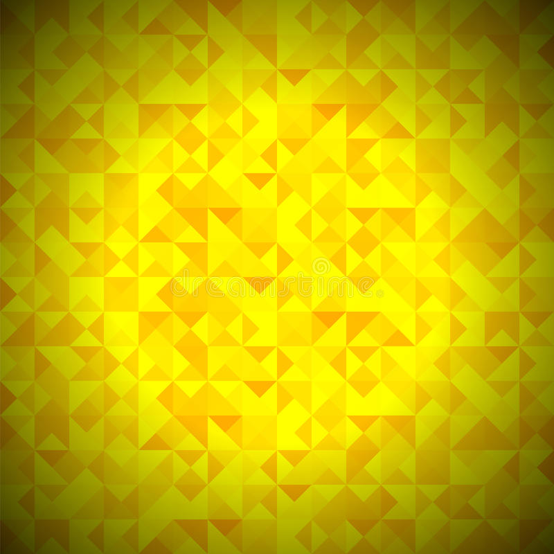 Yellow Background with Geometric Triangles. Yellow Background with Geometric Shapes, Triangles. Old Mosaic. Yellow-Mosaic-Banner. Geometric Hipster Yellow vector illustration