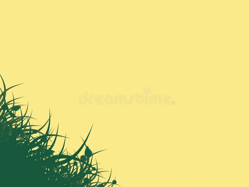 Yellow background with grass royalty free stock photography