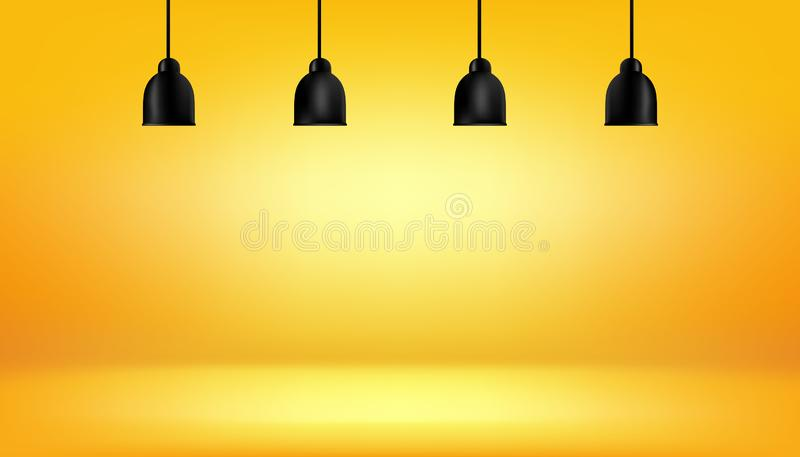 Yellow background with light boxes on ceiling, abstract gradient studio and wall texture vector and illustration, can be used. Presented your products, bulb vector illustration
