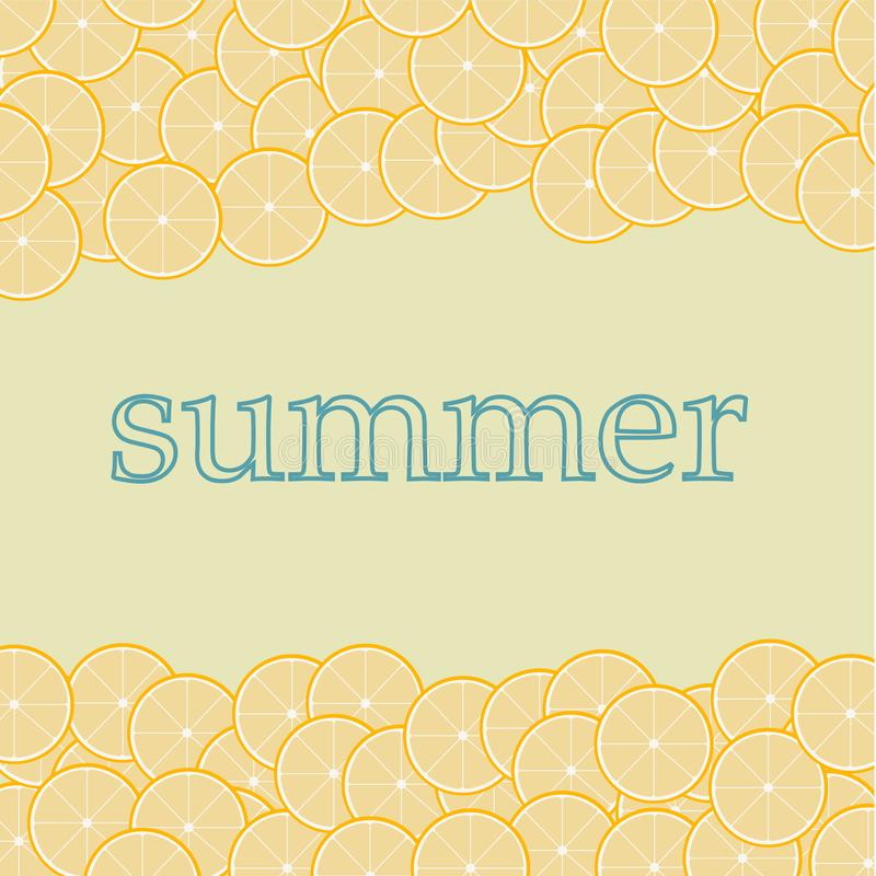 Yellow background with many oranges, inscription summer. Pattern vector illustration