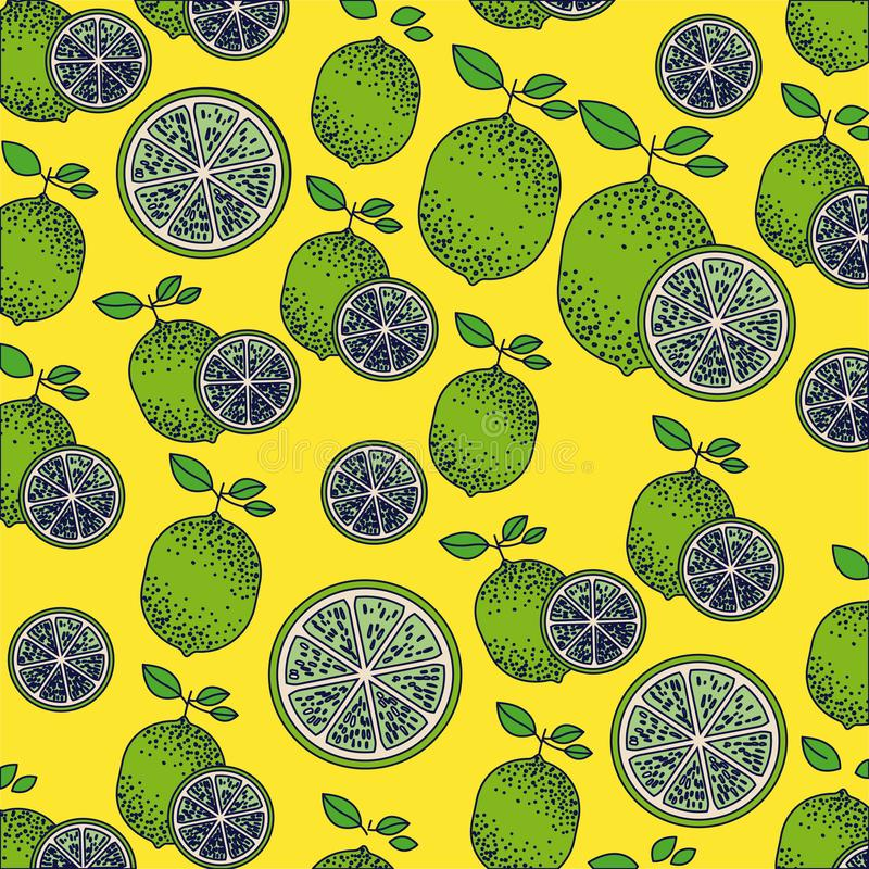 Yellow background with pattern of lemon fruits and lemon sliced vector illustration