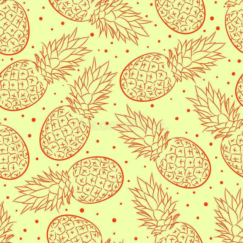 Yellow background with pineapple royalty free illustration
