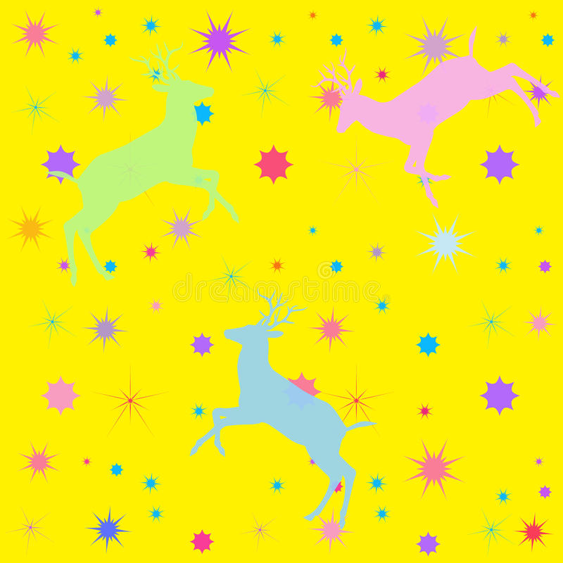Yellow kids pattern. Yellow background with shapes of the deer and stars. The Abstract illustration with a variety light color of the deer shapes and seamless stock illustration