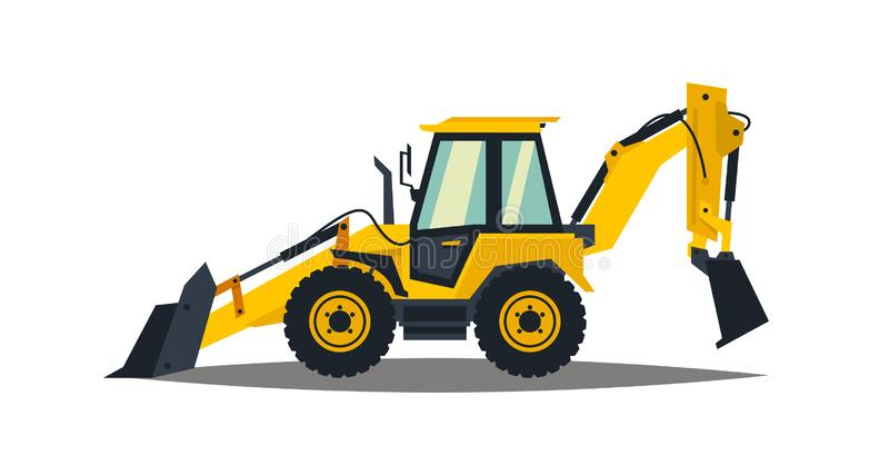 Yellow backhoe loader on a white background. Construction machinery. Special equipment. Vector illustration. Yellow backhoe loader on a white background stock illustration