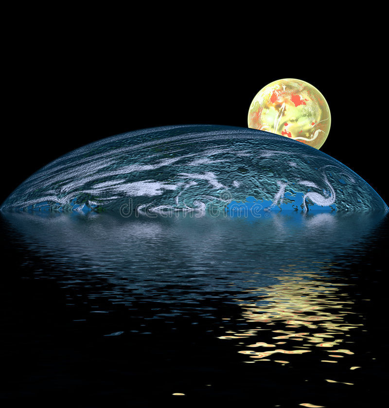 Yellow ball over water royalty free stock image