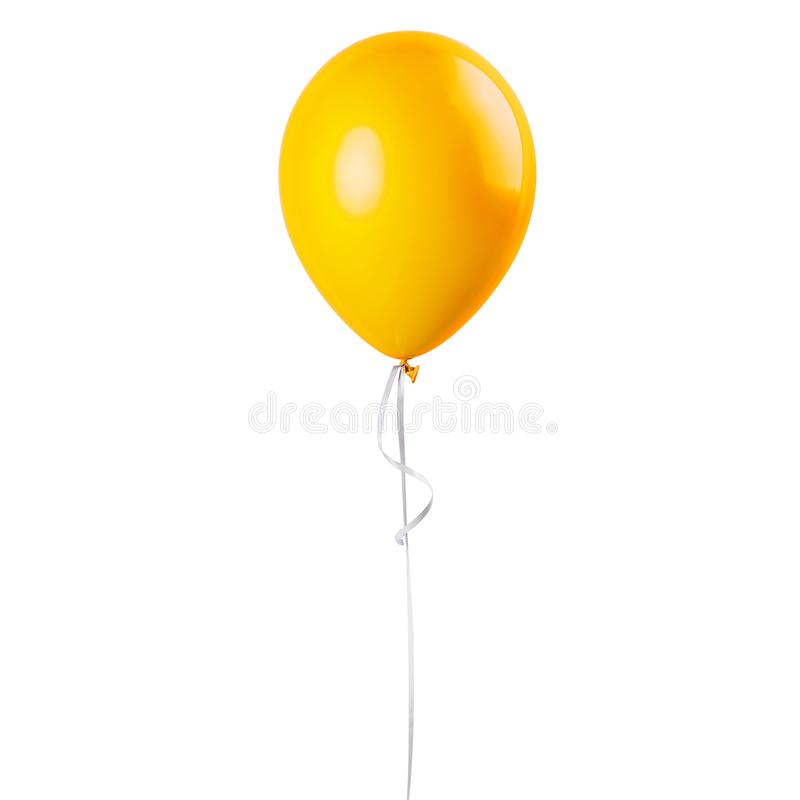 Yellow balloon isolated. On a white background. Party decoration for celebrations and birthday royalty free stock photography