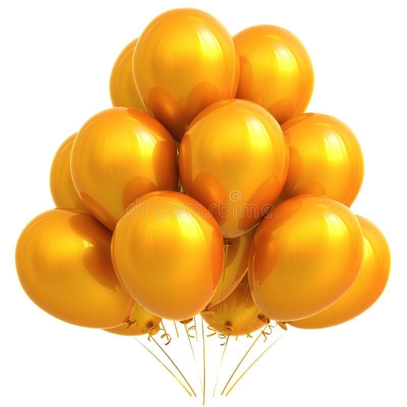 Yellow balloons party happy birthday carnival decoration orange vector illustration