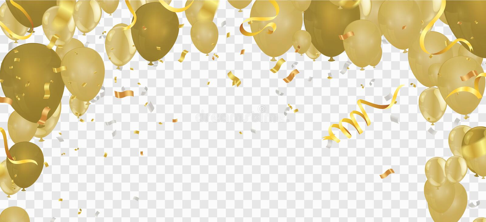 Yellow balloons on the upstairs with Gold confetti  and Merry christmas wallpaper and Happy New background vector illustration