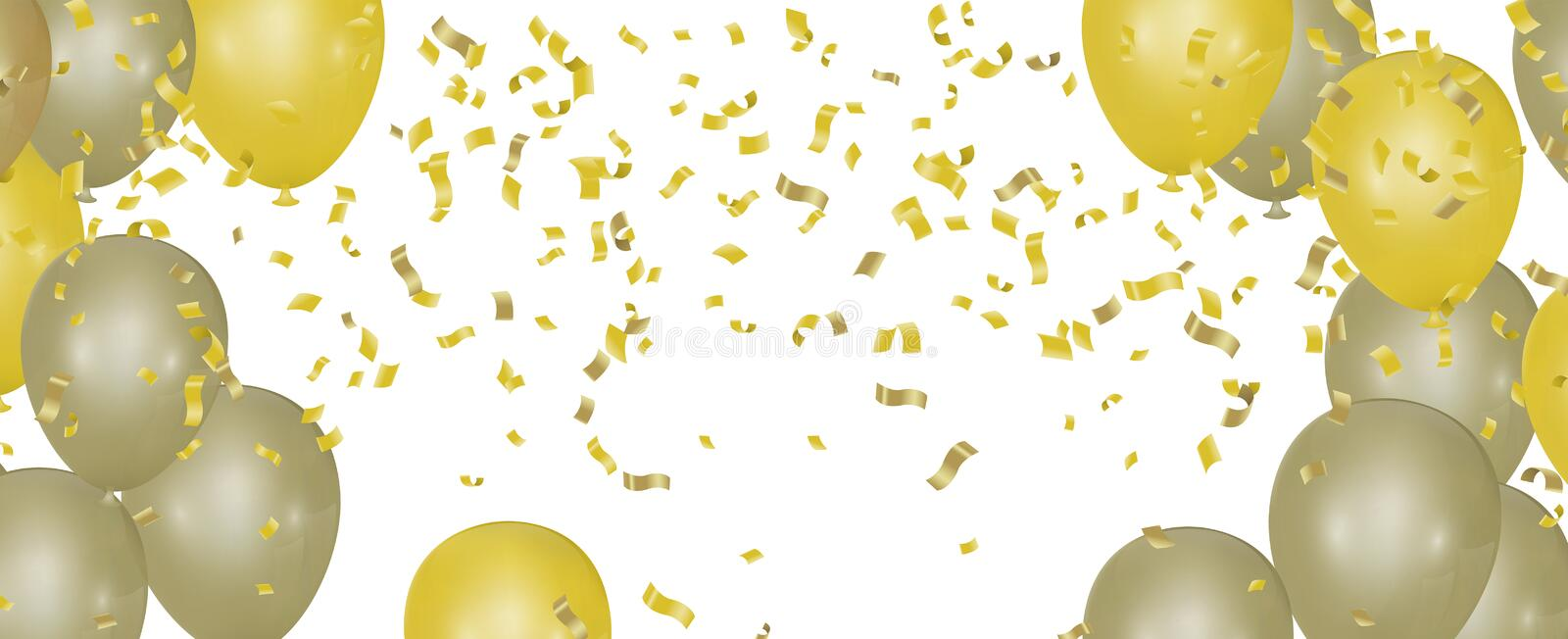 Yellow balloons on the upstairs with Gold confetti  and Merry christmas wallpaper and Happy New background royalty free illustration