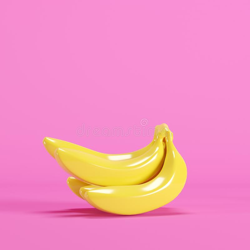 Yellow banana on pink background stock images