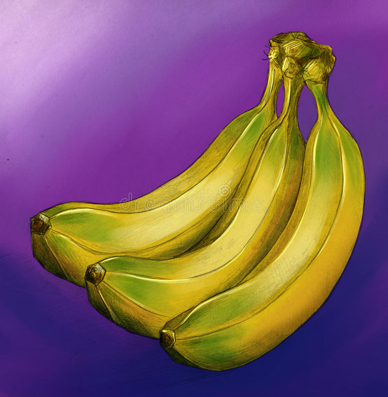 Yellow bananas on violet background stock images