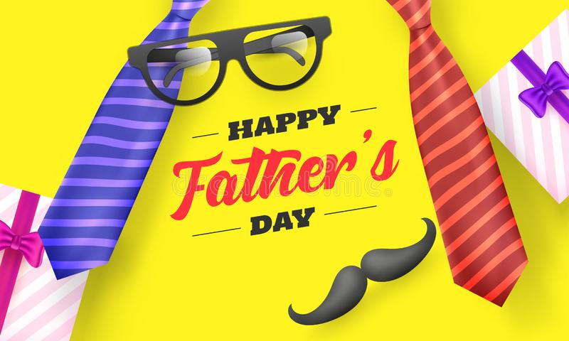 Yellow banner or poster design decorated with necktie, eyeglasses, moustache and gift boxes illustration. royalty free illustration