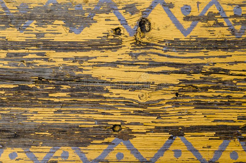 Yellow Barn Wooden Wall Planking Horizontal Texture. Old Wood Slats Rustic Shabby Empty Background. Paint Peeled Brown Weathered I. Yellow Barn Wooden Wall stock image