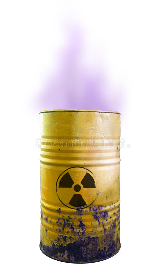 Yellow barrel of toxic waste isolated. Acid in barrels. Beware o. F poison. Toxicity royalty free stock photos