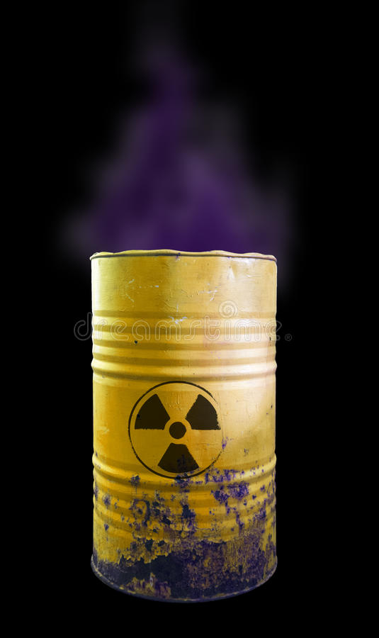 Yellow barrel of toxic waste isolated. Acid in barrels. Beware o. F poison. Toxicity royalty free stock photo