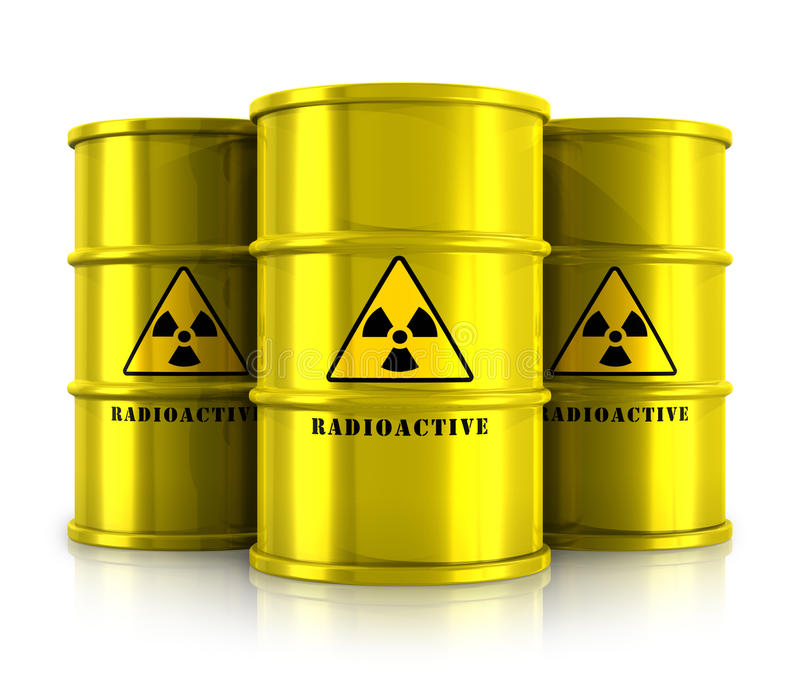 Yellow barrels with radioactive waste. Creative abstract nuclear power fuel manufacturing, disposal and utilization industry concept: group of yellow metal stock illustration