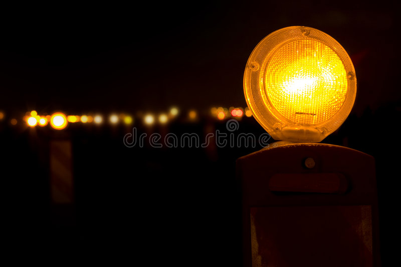 Yellow Barricade Lights stock photo