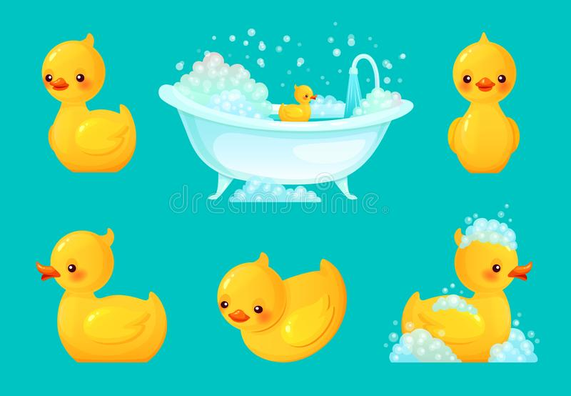 Yellow bath duck. Bathroom tub with foam, relaxing bathing and spa rubber ducks cartoon vector illustration stock illustration