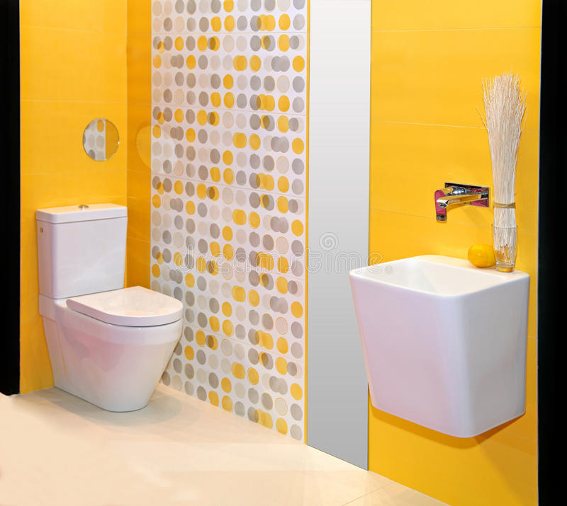 Yellow bathroom royalty free stock images