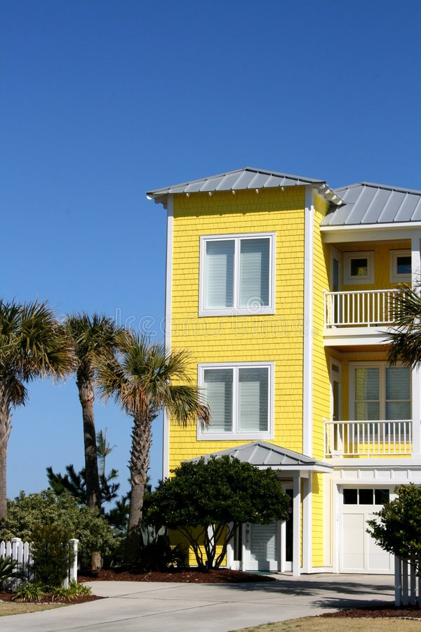 Download Yellow Beach Front Home stock image. Image of vacation - 4472443