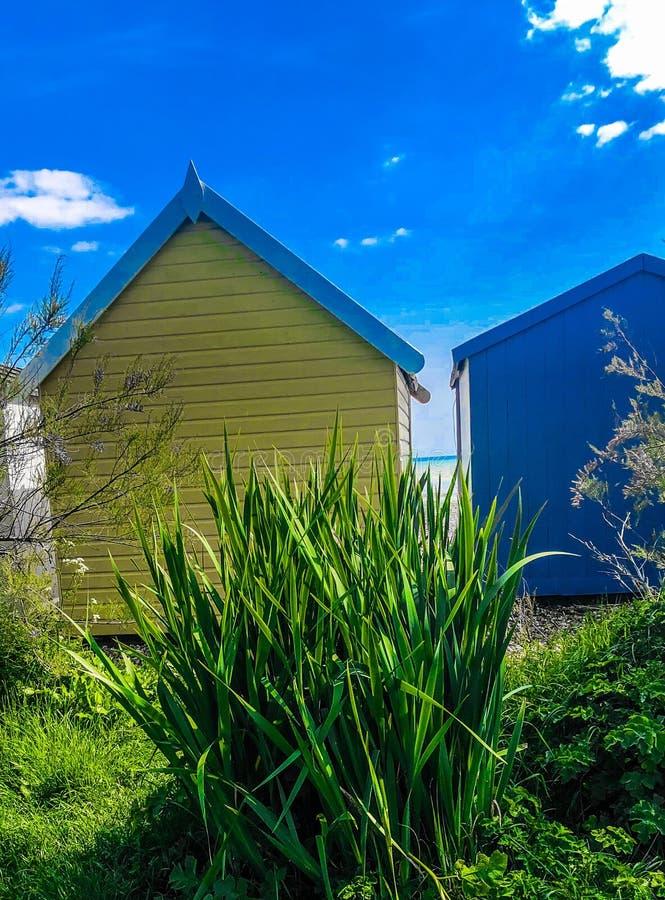 Yellow beach huts royalty free stock image