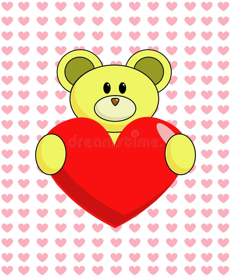 Download Yellow Bear with Heart stock illustration. Image of illustration - 460226