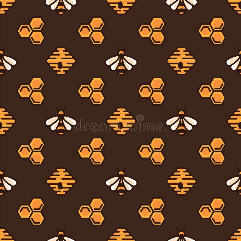 Yellow bee, bee hive and honeycomb on brown pattern background. Seamless pattern yellow bee and sweet honey. stock illustration