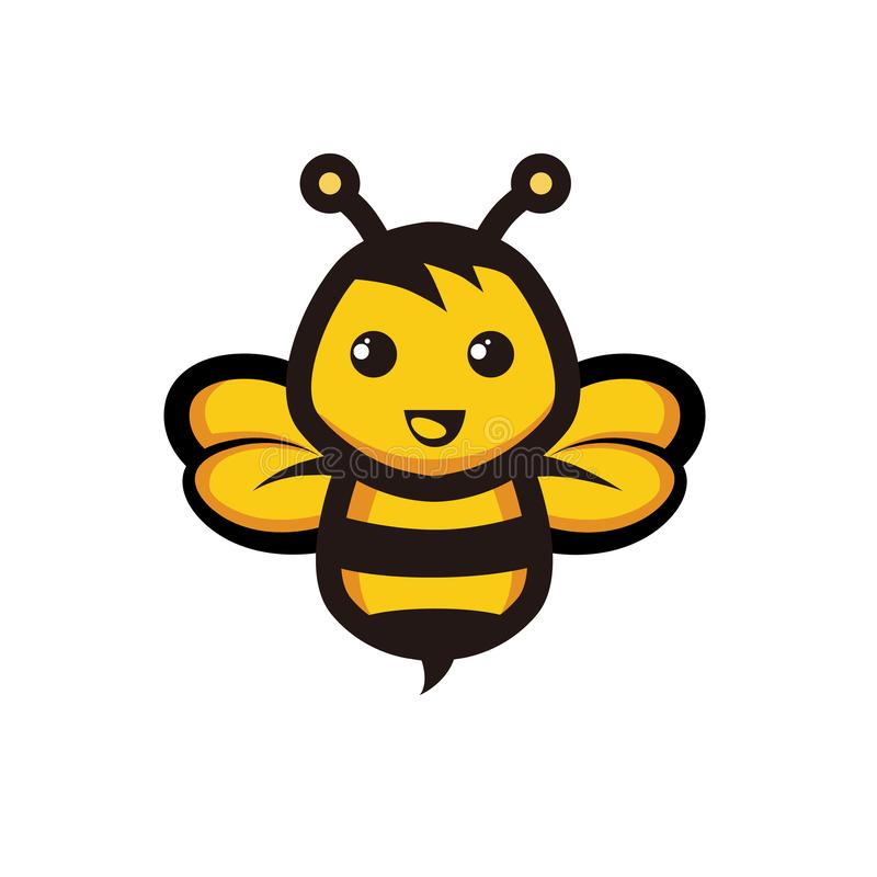 Yellow Bee Vector Map, Icon, Logo vector illustration