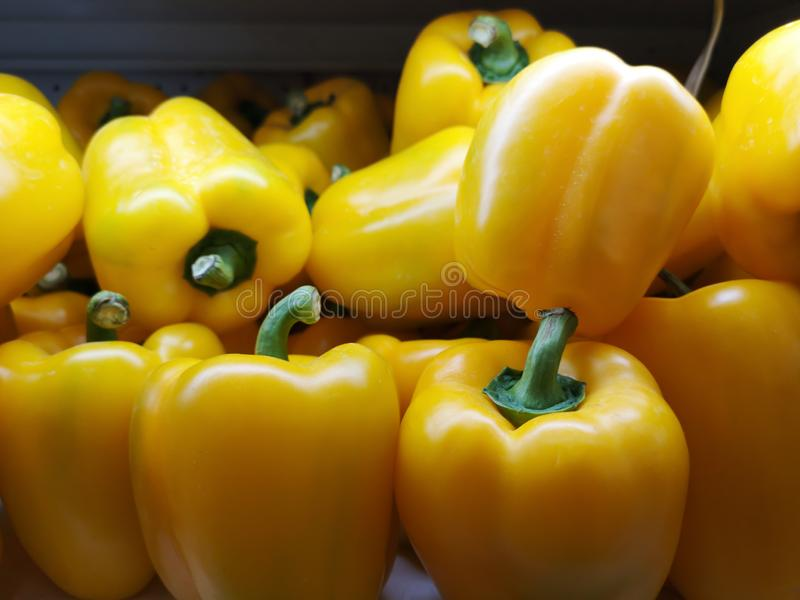 Yellow bell pepper is fresh, sold in supermarkets stock photos
