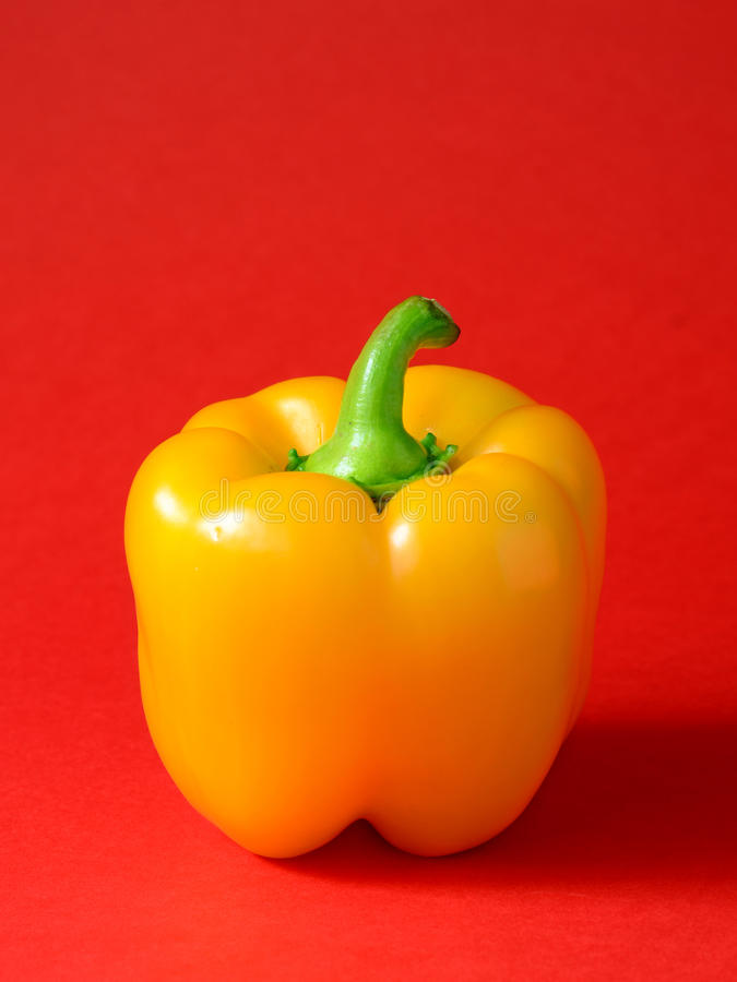 Yellow Bell pepper. On a red background stock photography