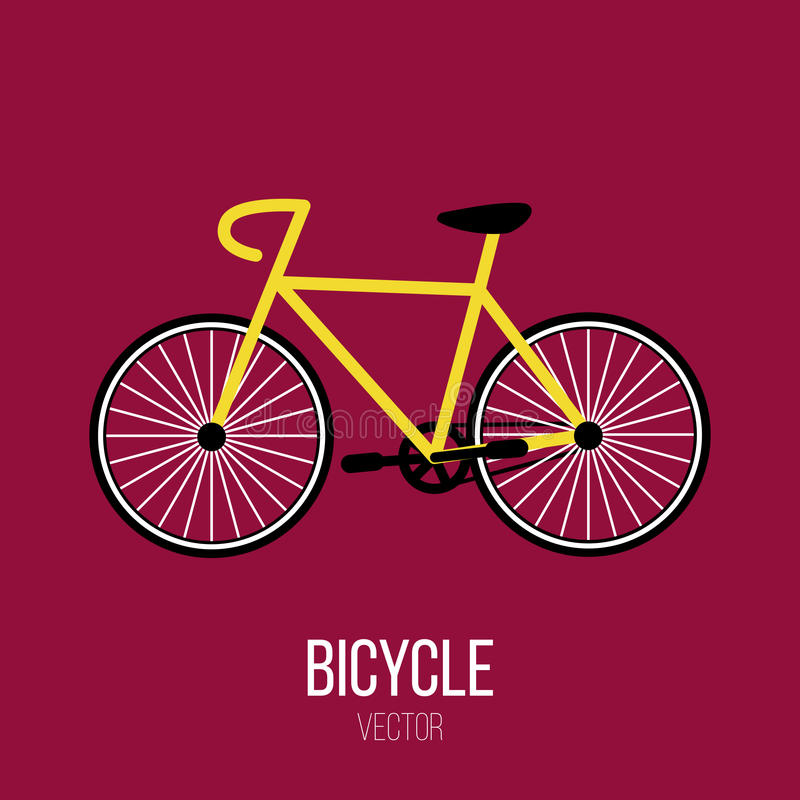 Yellow Bicycle Bike Vector Isolated Element royalty free stock image