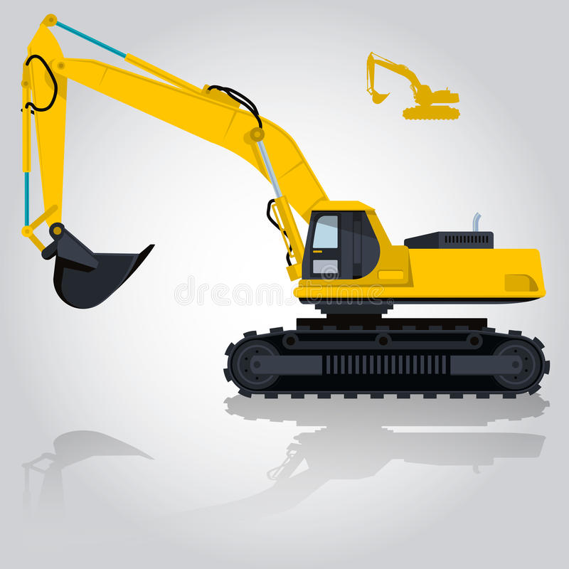 Yellow big digger builds roads. Digging of sand, coal, waste rock and gravel. stock illustration