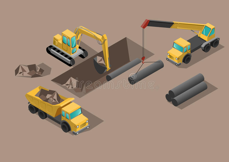 Yellow big digger builds roads gigging of hole ground and set tubes. Yellow big digger builds roads gigging of ditch and set tubes by crane isometric vector royalty free illustration