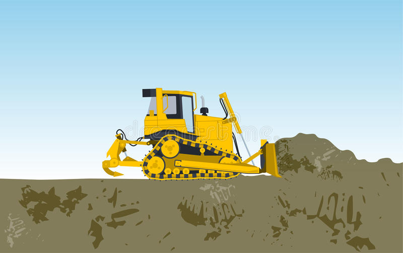 Yellow big digger builds roads gigging of hole. Ground works digging of sand coal waste rock and gravel illustration for internet banner poster or icon flatten stock illustration