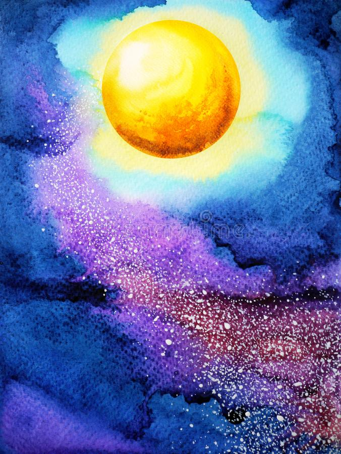 Yellow big full moon on dark blue night sky watercolor painting. Illustration design hand drawn stock illustration