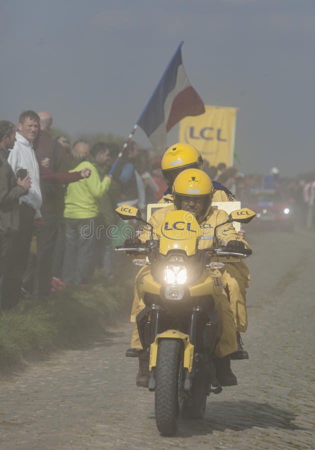 Download The Yellow Bike In The Dust- Paris Roubaix 2014 Editorial Photo - Image: 39873961