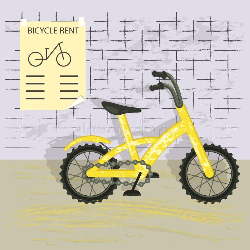 Yellow bike isolated stock illustration