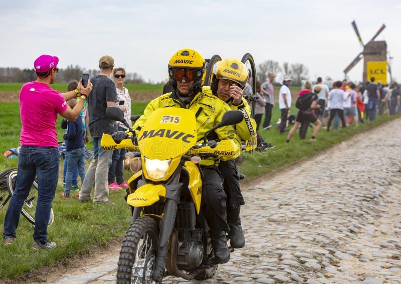 The Yellow Bike of Mavic - Paris-Roubaix 2018 stock image