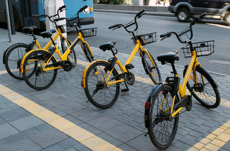 The yellow bikes for hire royalty free stock photos