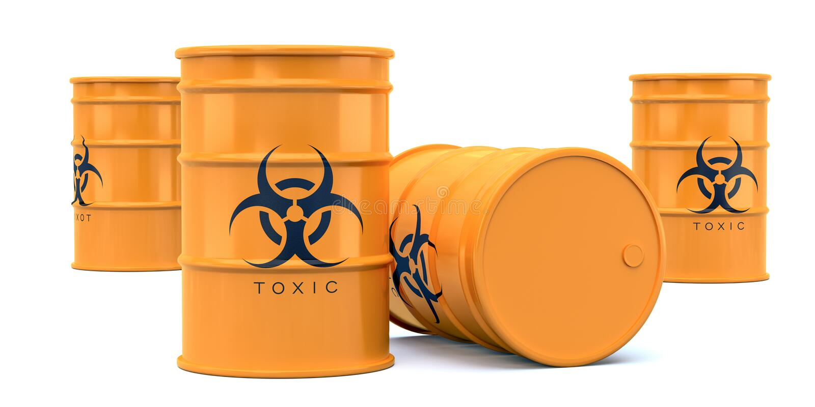 Yellow biohazard toxic waste barrels isolated on white background. realistic 3d render royalty free illustration