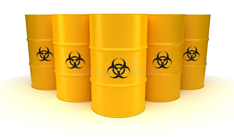 Yellow Biohazard Waste Barrels royalty free illustration