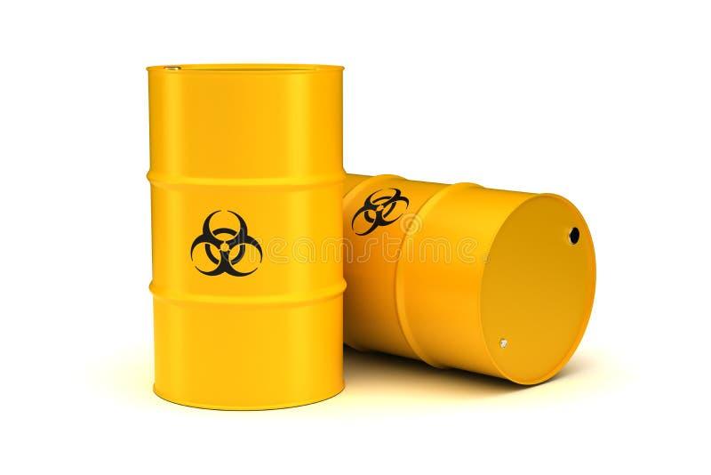 Yellow Biohazard Waste Barrels stock illustration