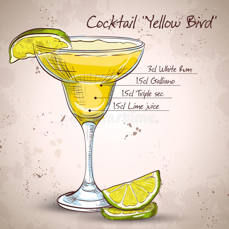 Yellow Bird is a cocktail. That contains rum, Galliano, triple sec and freshly squeezed lime juice stock illustration