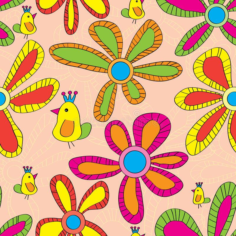 Free Yellow Bird Colorful Flower Seamless Pattern Royalty Free Stock Photography - 43244787