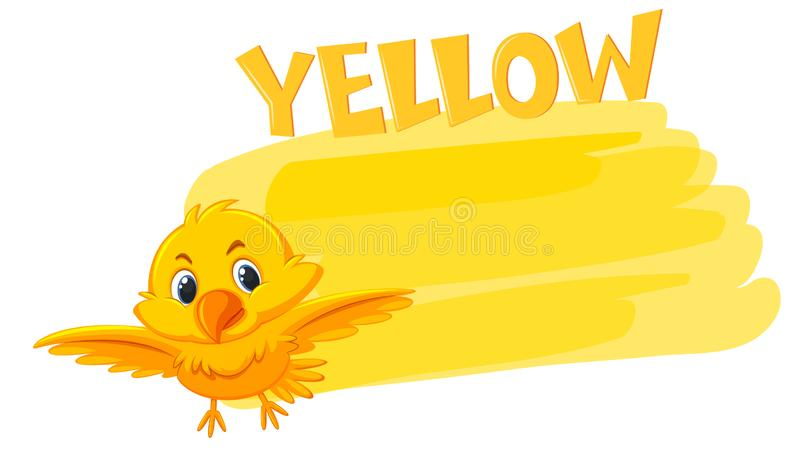 A yellow bird and painting color. Illustration vector illustration