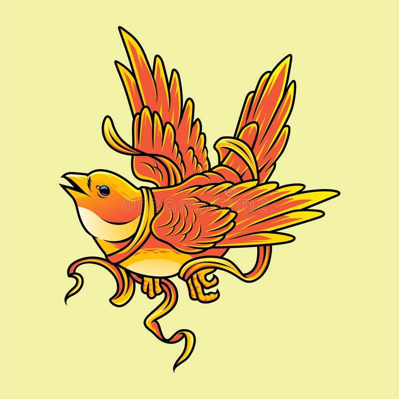 Yellow bird with rope vector illustration vector illustration