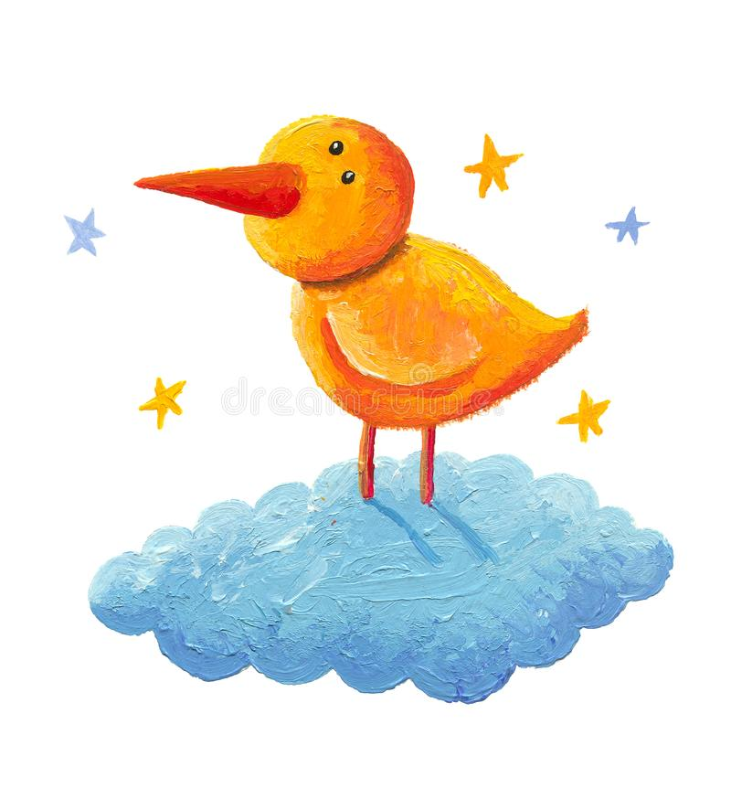 Free Yellow Bird Standing On The Cloud Royalty Free Stock Images - 136104759