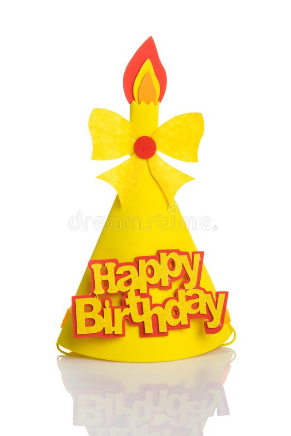 Yellow Birthday hat with elements and decorations for party and celebrations isolated in white background.  stock images