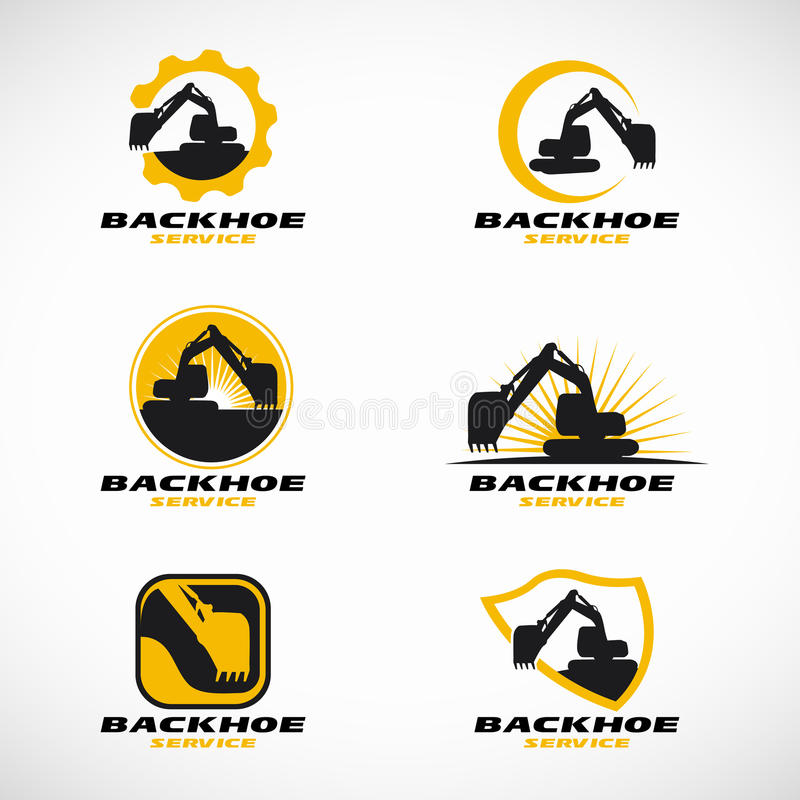 Yellow and black Backhoe logo vector set design royalty free illustration