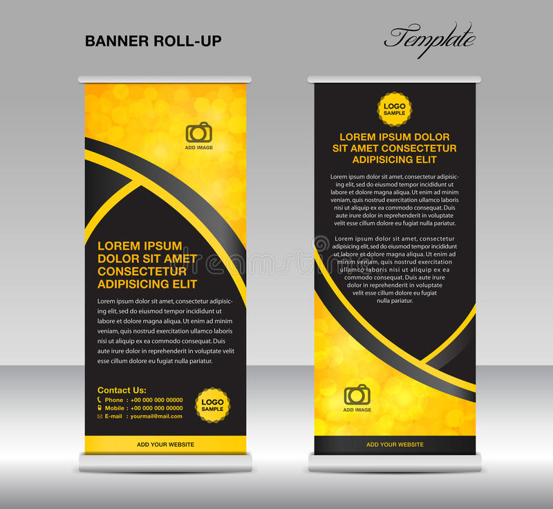 Yellow and black banner stand template, stand design,banner. Template,Yellow and black banner,flyer template, advertisement,Poster, layout template royalty free illustration